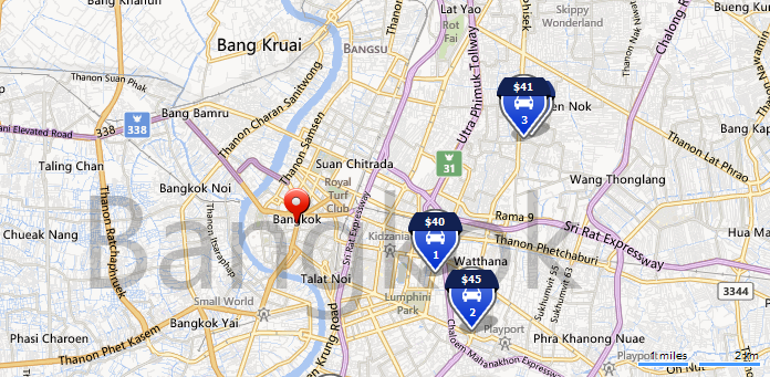 Bangkok car rental locations, Thailand
