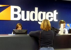 Budget car rental desk at Bangkok - Suvarnabhumi Airport, Thailand