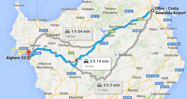 Car hire from Olbia Airport to Alghero