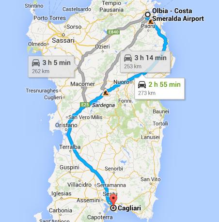 Car hire from Olbia Airport to Cagliari